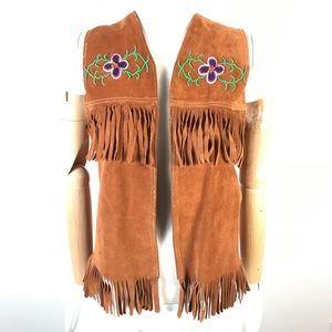 Vintage suede leather fringed vest